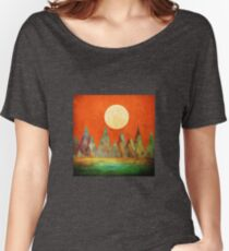 Abstract Landscape, Full Moon Mountains Orange Sky Women's Relaxed Fit T-Shirt
