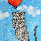 Mouse with Heart shaped Balloon by Rachelle Dyer