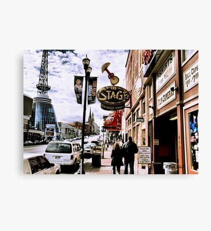 """DOWNTOWN NASHVILLE, TENNESSEE, BEFORE THE FLOOD""... prints and products Canvas Print"