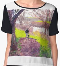 Man walking dog - Apex Leisure & Wildlife Park. Chiffon Top