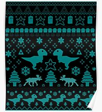 Geeky Christmas Sweater ver.blue Poster