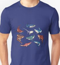 Sharks in the dark blue Unisex T-Shirt