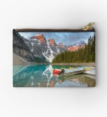 Moraine Lake Boats in Banff National park, the Canadian Rockies Studio Pouch
