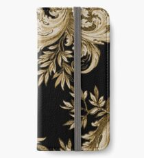 Gold on Black Swirl iPhone Wallet/Case/Skin