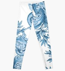 Blue Floral Swirl Leggings