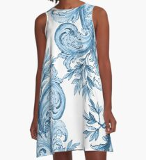 Blue Floral Swirl A-Line Dress