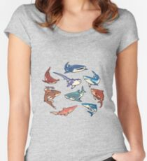 Sharks in the light blue Fitted Scoop T-Shirt