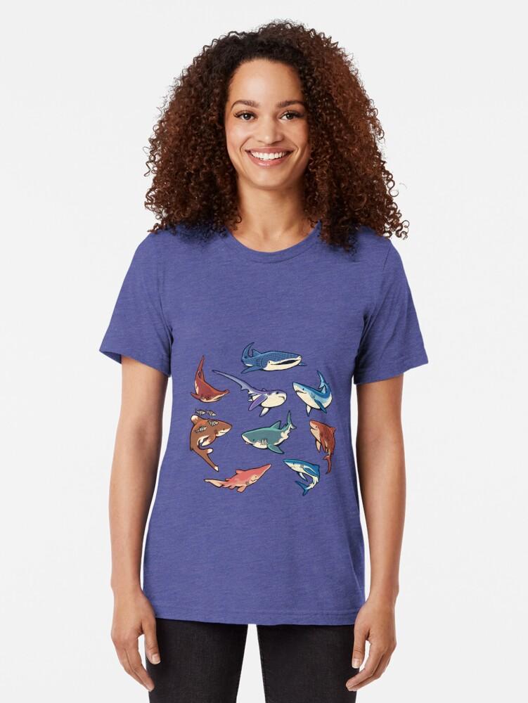 Alternative Ansicht von Haie im Hellblau Vintage T-Shirt