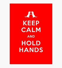 Keep Calm and Hold Hands (Otters holding hands) Photographic Print