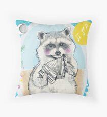 Raccoon Makes a Tune Throw Pillow
