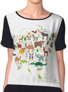 Eurasia Animal Map Simple Chiffon Top
