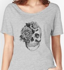 Floral Skull Anatomical Design Women's Relaxed Fit T-Shirt