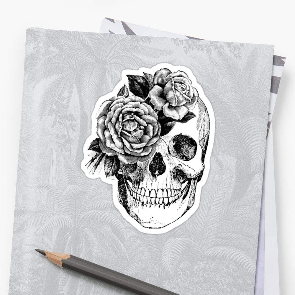 Floral Skull Anatomisches Design Sticker