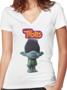 branch troll Women's Fitted V-Neck T-Shirt
