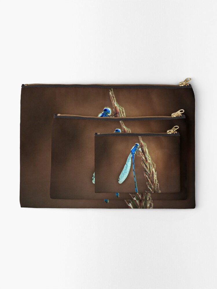 Alternate view of blue dragonfly Zipper Pouch