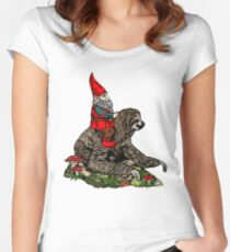 Gnome Riding a Sloth Women's Fitted Scoop T-Shirt