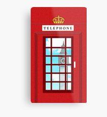 England Classic British Telephone Box Minimalist Metal Print