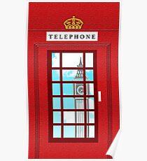 England Classic British Telephone Box Minimalist Poster