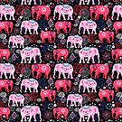 Bright pattern of beautiful elephants by Tanor