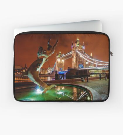 Dolphin Fountain, Tower Bridge, London Laptop Sleeve