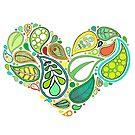Green Leaf Heart Mandala by DejaLulu