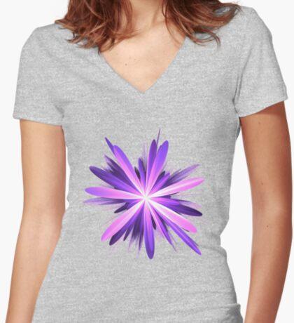 Flower blast #fractal art Fitted V-Neck T-Shirt