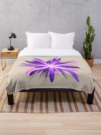 Flower blast #fractal art Throw Blanket