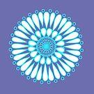 White Ice Double Sunflower Mandala by DejaLulu