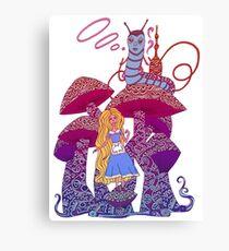Alice and The Hookah Smoking Caterpillar Canvas Print