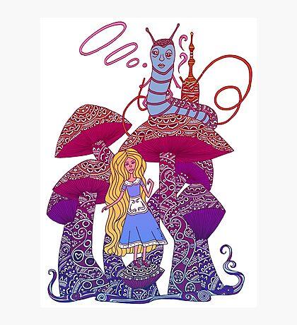 Alice and The Hookah Smoking Caterpillar Photographic Print