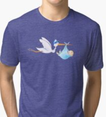 Stork delivering baby boy cute whimsical watercolor art Tri-blend T-Shirt
