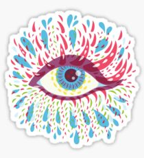 Weird Blue Psychedelic Eye Sticker
