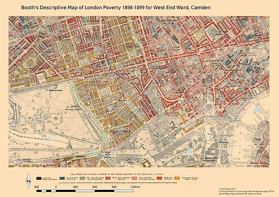 Booth 39 S Map Of London Poverty For West End Ward Camden Posters