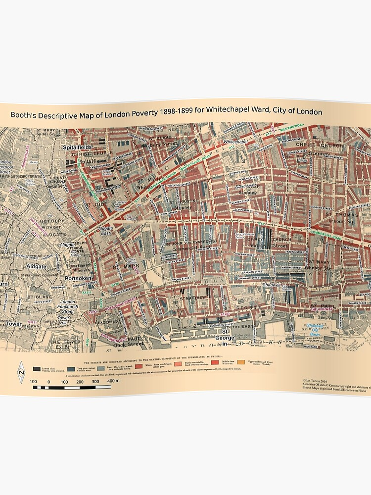 Map Of City Of London.Booth S Map Of London Poverty For Whitechapel Ward City Of London Poster