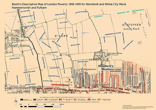 Booth 39 S Map Of London Poverty For Wormholt Amp White City Ward