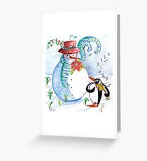 SNOWMAN AND PENGUIN'S WINTER SERENADE Greeting Card