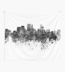 Minneapolis skyline in black watercolor on white background Wall Tapestry