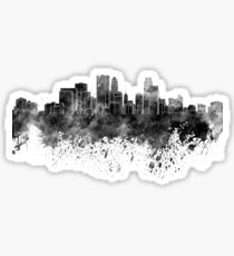 Minneapolis skyline in black watercolor on white background Sticker