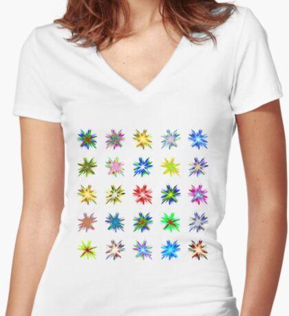 Flower blast structured chaos #fractal art Women's Fitted V-Neck T-Shirt