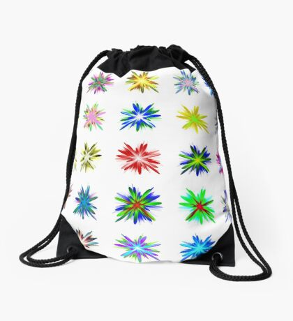 Flower blast structured chaos #fractal art Drawstring Bag