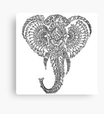 Black and White Elephant Doodle Canvas Print