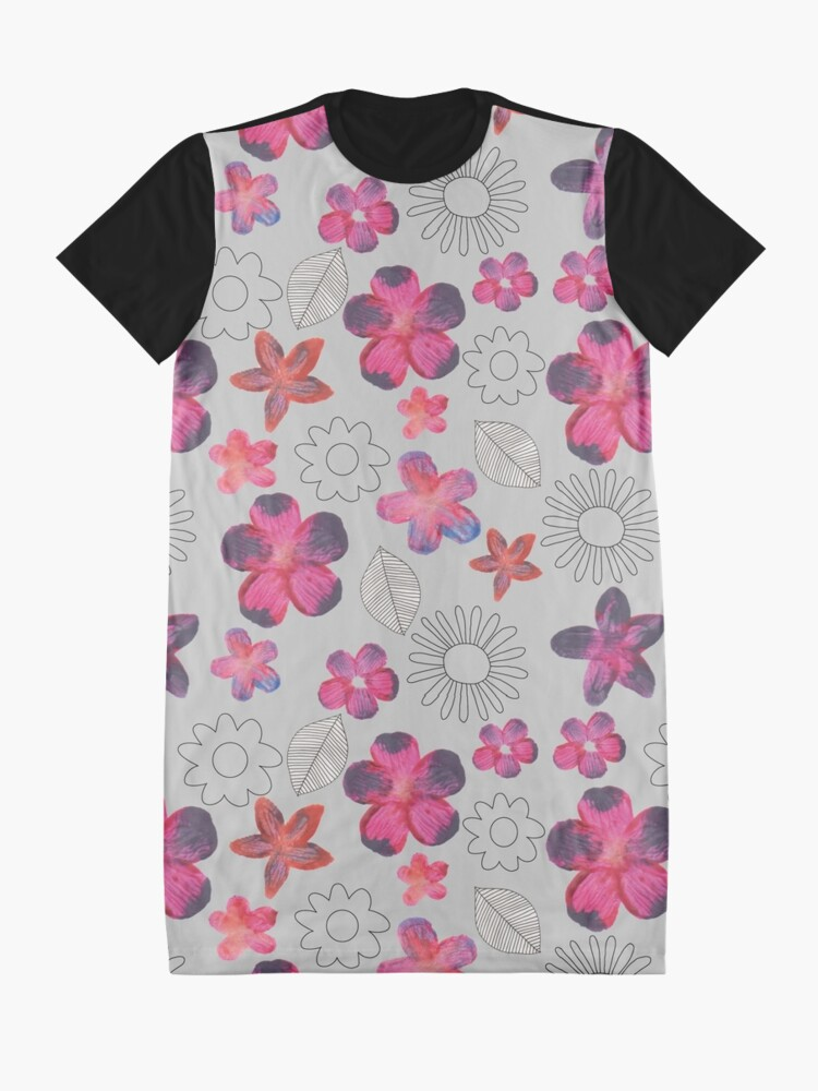 Alternate view of Watercolour Floral Pattern Graphic T-Shirt Dress