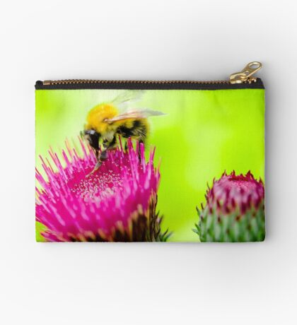Bumble Bee on Thistle Zipper Pouch