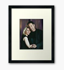Gillian Anderson and David Duchovny oil color painting  Framed Print