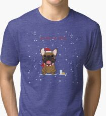 Frenchie Waiting for Santa - Fawn Edition Tri-blend T-Shirt