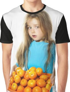 Cute little girl with full tray of mandarins, isolated on white background Graphic T-Shirt