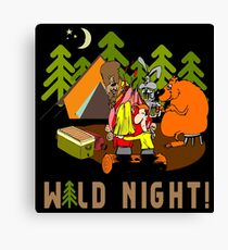 Camping Wild Night Drinking Beer Canvas Print