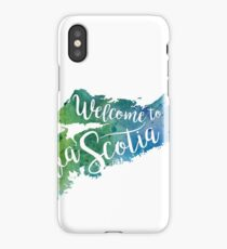 Nova Scotia Watercolor Map - Welcome to Nova Scotia Hand Lettering  iPhone Case/Skin