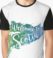Nova Scotia Watercolor Map - Welcome to Nova Scotia Hand Lettering  Graphic T-Shirt
