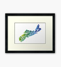 Nova Scotia Watercolor Map - Welcome to Nova Scotia Hand Lettering  Framed Print